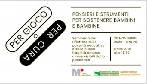 """Il 20 Novembre relatrice al seminario online """"Per gioco e per cura"""" del Centro Alberto Manzi"""